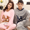 2016 winter cartoon couple long-sleeved pajamas mink velvet pajamas hooded home service suits