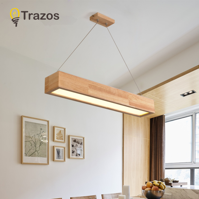TRAZOS Adjustable Pendant Lights LED Wooden Dining Light With Metal Lampshade Lustres Modern Hanging Lamp Suspension Lighting
