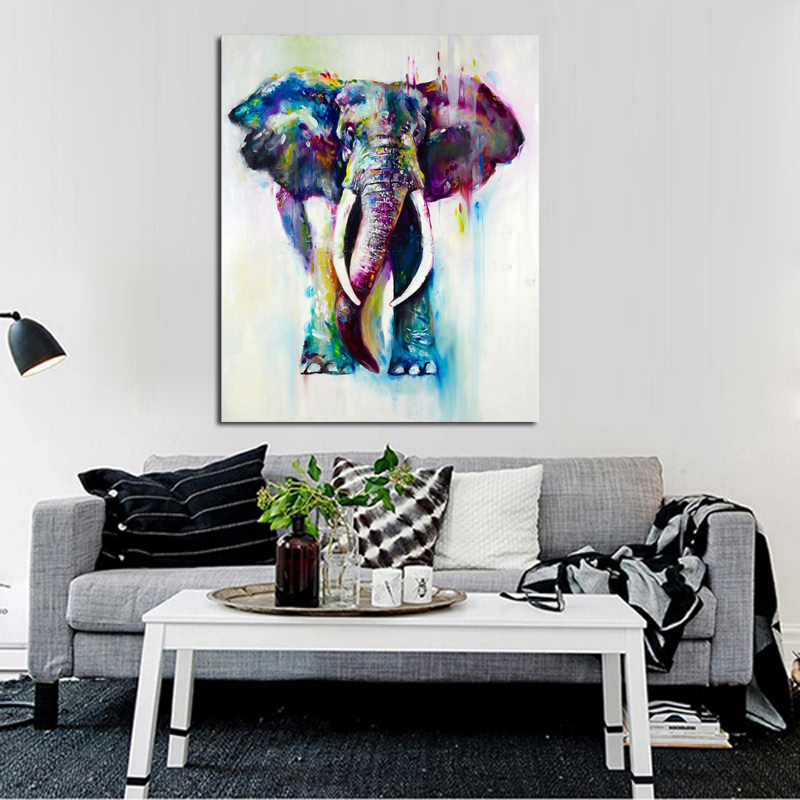 Hand Painted Color Animals Oil Painting Hang Paintings Modern Elephant Picture For Home Decor Running Water