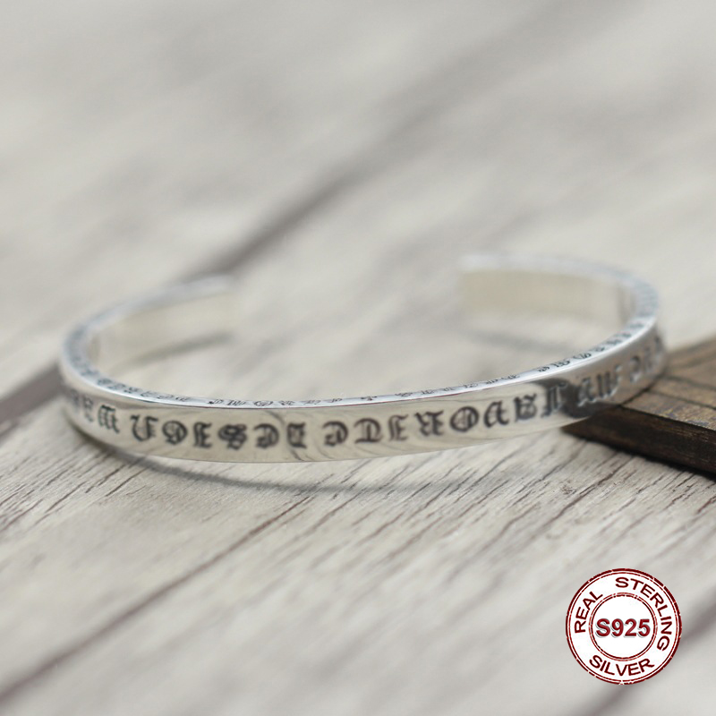 S925 Men's bracelet in Sterling Silver Personality retro letters open Classic simple punk style Send a gift to love letters to a love rat