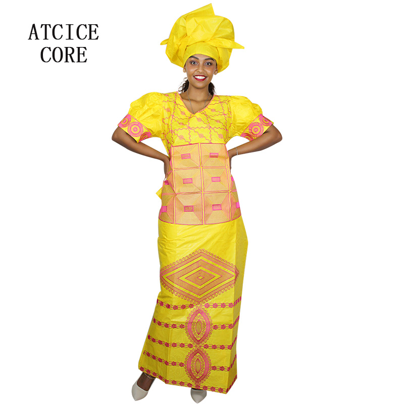 African Dresses For Women Free Shipping New Fashion Design African Bazin Riche Embroidery Short Rapper With Scarf Dp119#