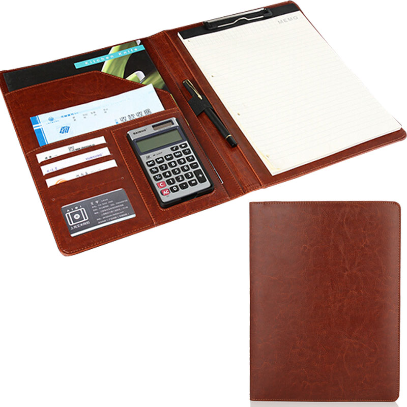 professional multifunctional A4 business file folder documents folder with calculator & notepad no ring PU file binder vividcraft multifunctional leather folder set with calculator business papel a4 file folder file holder bag organizador booklet