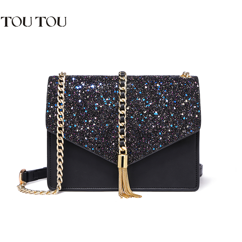 A1613 Toutou Crossbody Chain Bag Fashion Sequined Tassels