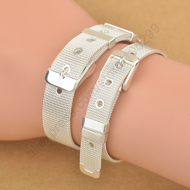 Fashionable Belt Design Pure 925 Sterling Silver Fine Jewelry Bracelet Bangle Top Quality 2 Size Options For Woman Man