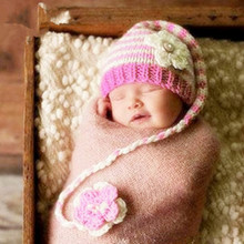 Baby Cute Handmade Knitting Stipe Hat With Long Braid New Born Infant Baby Knit Crochet Photography Props Hats Baby Accessories