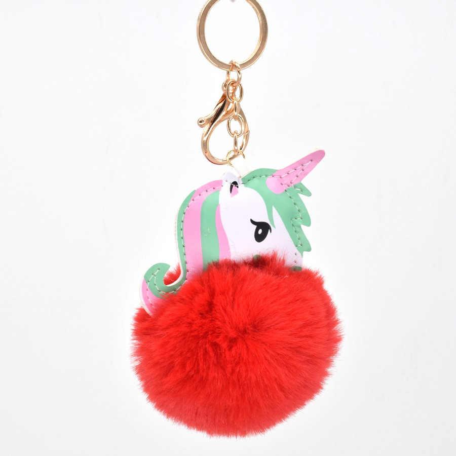 Colorido unicórnio elf dragão Chaveiros Para As Mulheres Meninas Do Falso Pele De Coelho bola Pompom Chaveiro Fluffy Lady Bolsa Chave Do Carro anéis