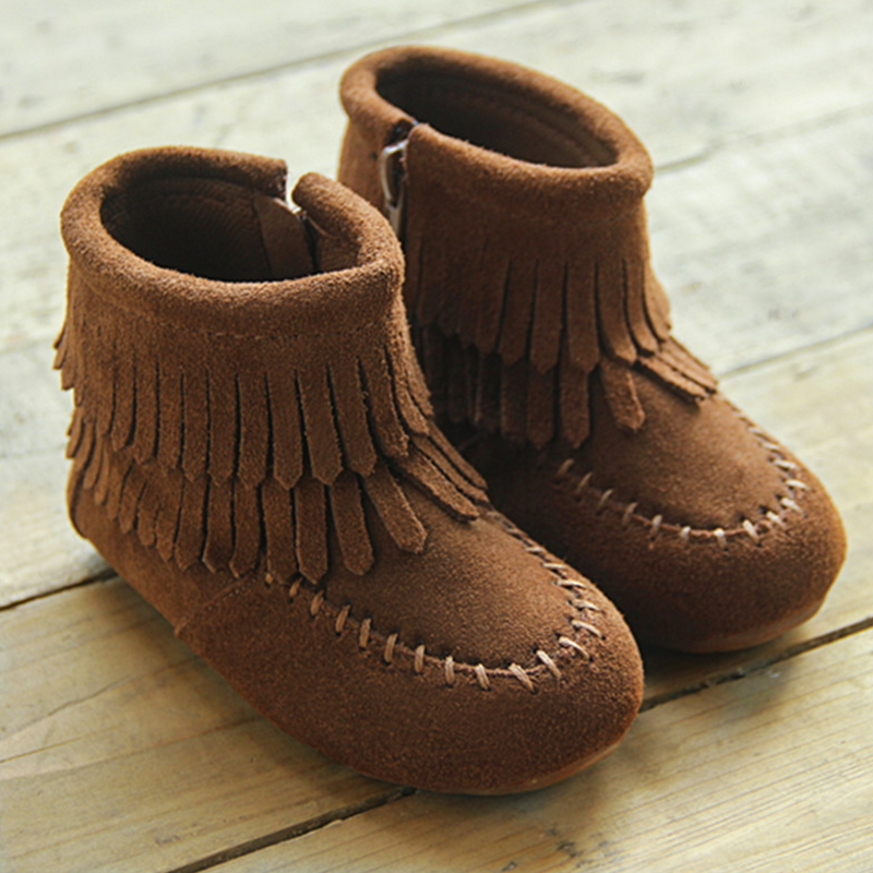 2016 new Children shoes girls shoes Cow Muscle sole tassel zipper boots leather shoes