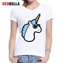 REDBELLA Tee Shirt Women Ulzzang Unicorn Eenhoor Sunglasses Harajuku Poleras Mujer Print Cotton Fashion T-shirt Clothing Femme