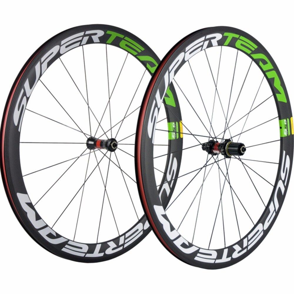 SUPERTEAM T700 Fibre de carbone vélo de route 50mm pneu carbone roues blanc/vert décalque avec DT Swiss 240 moyeu Sapim cx-ray