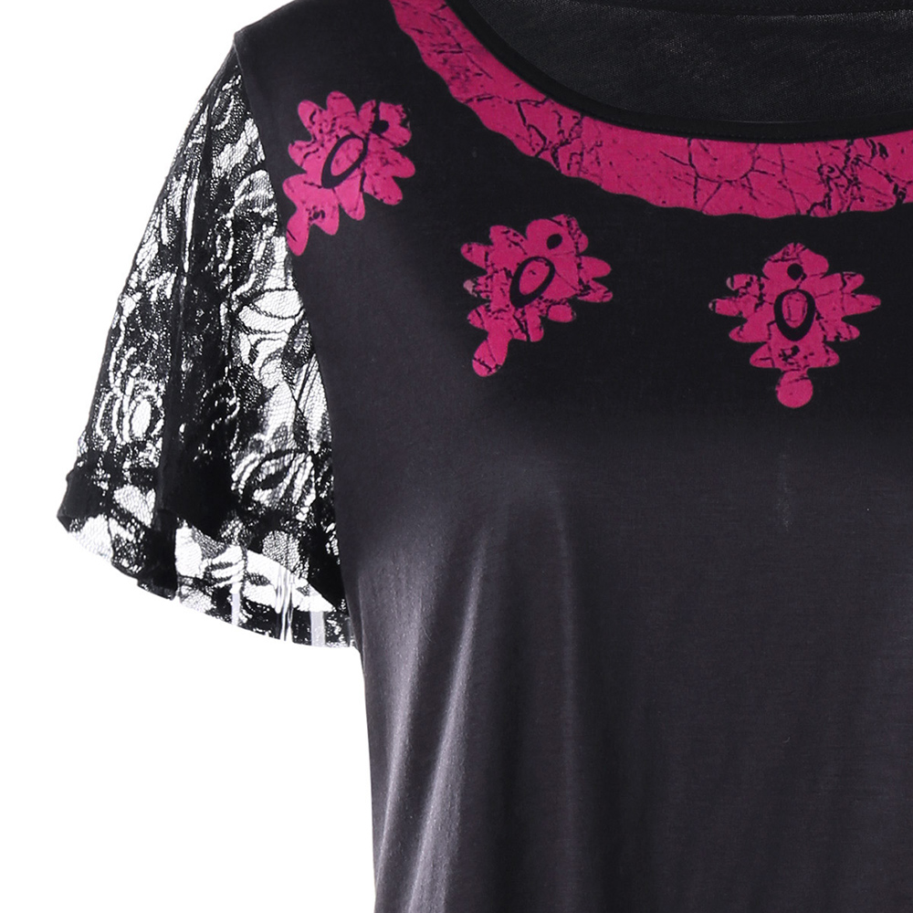 71a6dc98 AZULINA Plus Size Tribal Print T Shirt Women Tops O Neck Short Sleeve Lace  T Shirt 2018 Summer Ladies Tops Tee Shirt Big Size-in T-Shirts from Women's  ...