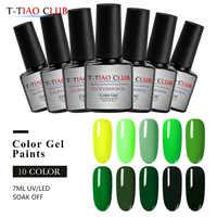 T-TIAO CLUB 7ml Grün Serie Nagel Gel Polnisch Gel Primer 10 Farben weg Tränken Nagel Gel Lack UV LED nagel Kunst Dekorationen