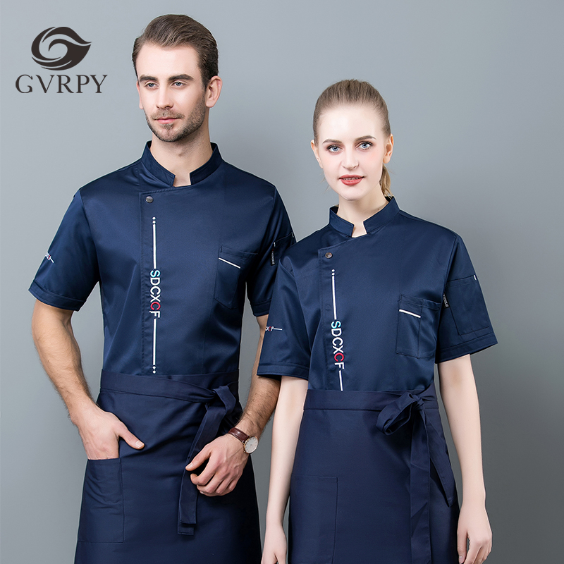 Unisex Breathable Short Sleeve Chef Uniform Summer Kitchen Cooking Jacket Canteen Catering Hairdressers Salon Work Jacket M-4XL