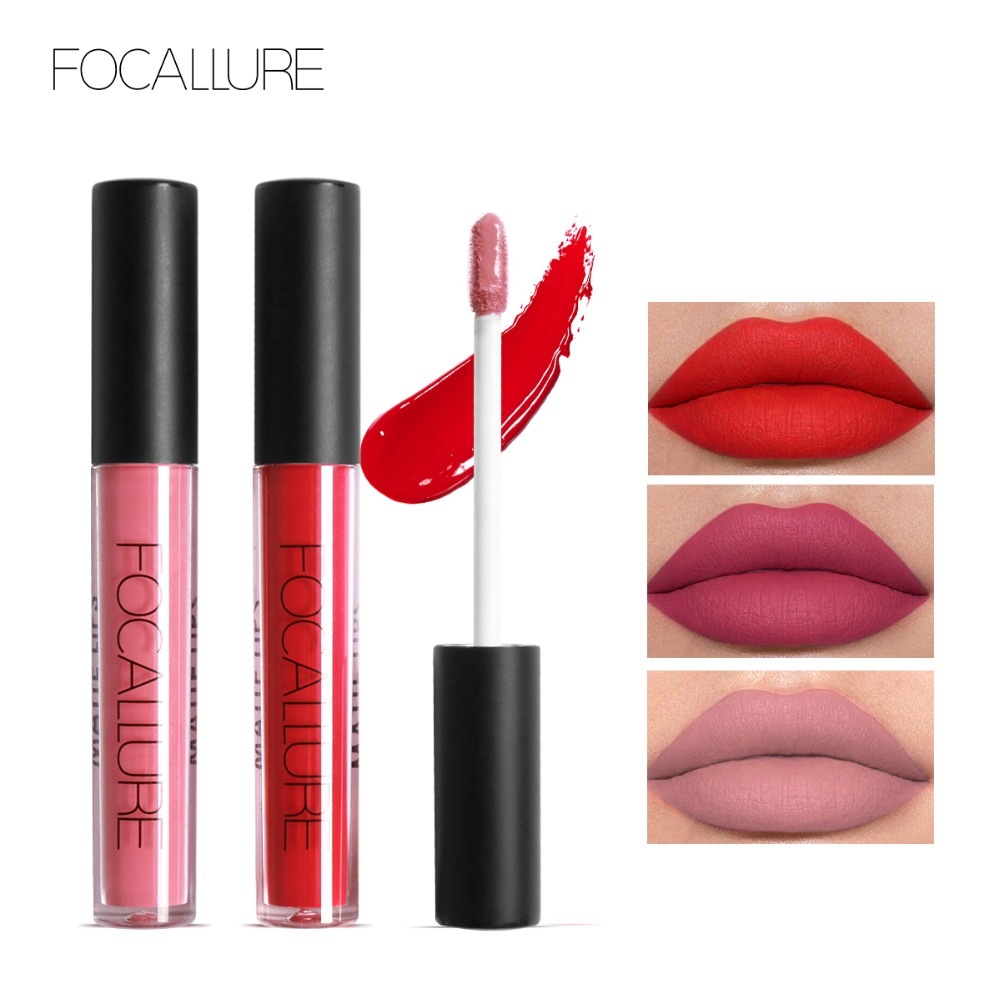 FOCALLURE Waterproof Lip Gloss Lipstik tahan lama Ungu Ungu Hitam - Riasan - Foto 1