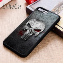 LvheCn BLOODY PUNISHER SKULL phone Case cover For iPhone 6 6S 7 8 X XR XS max 5 5S SE Samsung Galaxy S5 S6 S7 edge S8 S9 Plus(China)