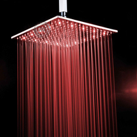 BECOLA 16 inch Solid Brass Chrome LED rain shower head with shower arm LED161600A