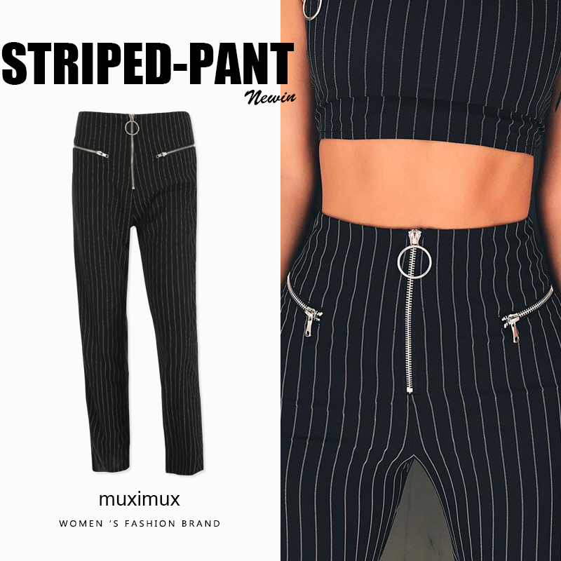 Muximux 2018 Autumn Women Pants Series Striped Skinny Pants High Waist Winter Trousers Elegant Straight OL Style Workwear Pants