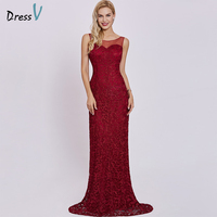Dressv Red Long Evening Dress Cheap Scoop Neck Sleeveless Sheath Lace Sweep Train Wedding Party Formal