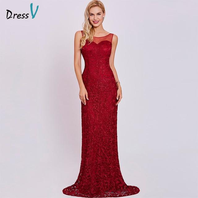 69dfd8536 Vestido de noche largo rojo vestido de noche barato cuello redondo sin  mangas encaje barrido tren