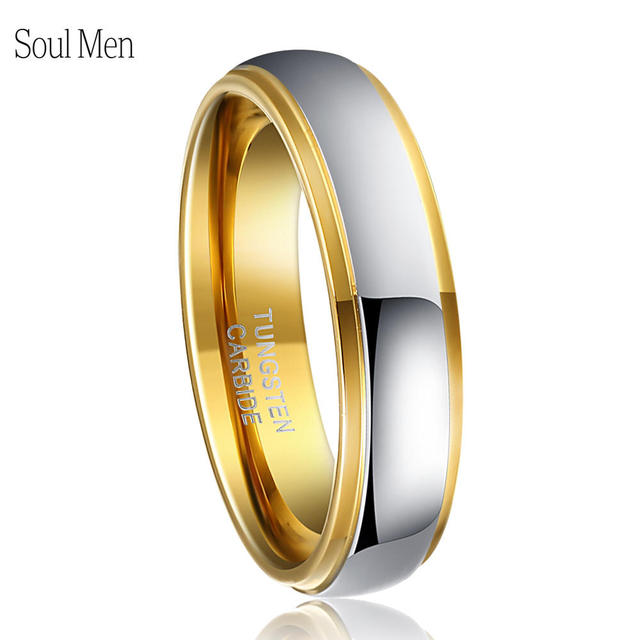 Mens Classic Wedding Band 6mm Two Tone Silver Gold Color Tungsten