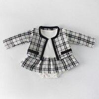יילוד תינוקת בגדי סתיו אביב 2019 תינוק Rompers עבור בנות משובץ נסיכת חג מולד בגדי תינוקות Romper + מעיל 2 pc