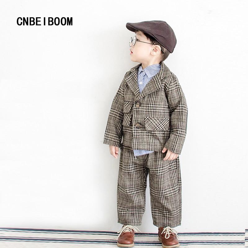 Baby Boys Suits Formal Tuxedo Suit Brand children 2-6 T Boy/ Girls Grid Gown Infant Party Wedding Clothing Set Kids 2 pcs/set