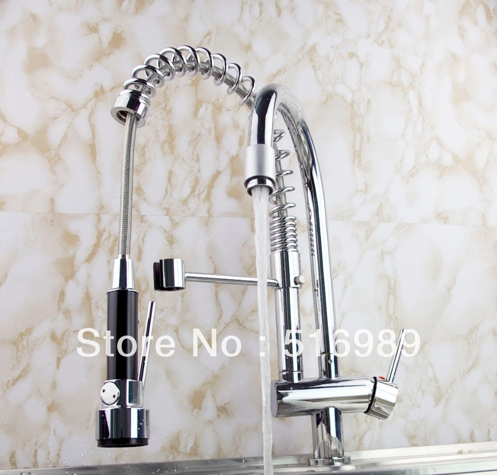 Single Lever Deck Mounted Pull Out Chrome Bathroom Kitchen mixer Tap Faucet leon60