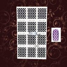 1PC Fishing Net Holo White Nail Art Sticker Stencils PWJV209 Manicure Nail Vinyls UV GEl Gel Polish Airbrush Nail Stamping Foils