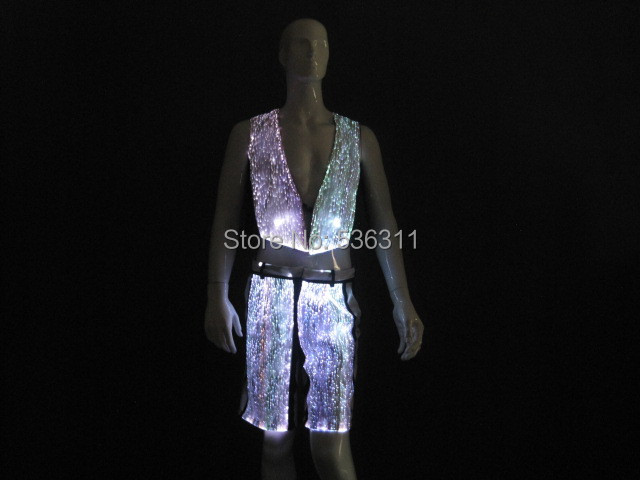 2017 illuminated fiber optic fabric custom cool men party evening dance costume performance wear men clothing set