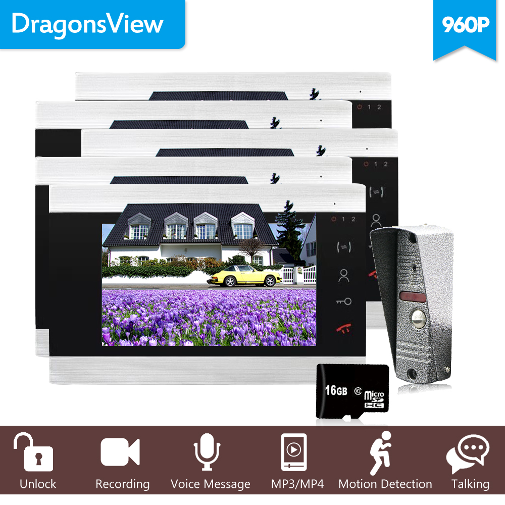 Dragonsview 7 Inch Multi Apartment Video Door Phone HD Intercom System For Apartment Electronic Lock Supported Not Include 960P
