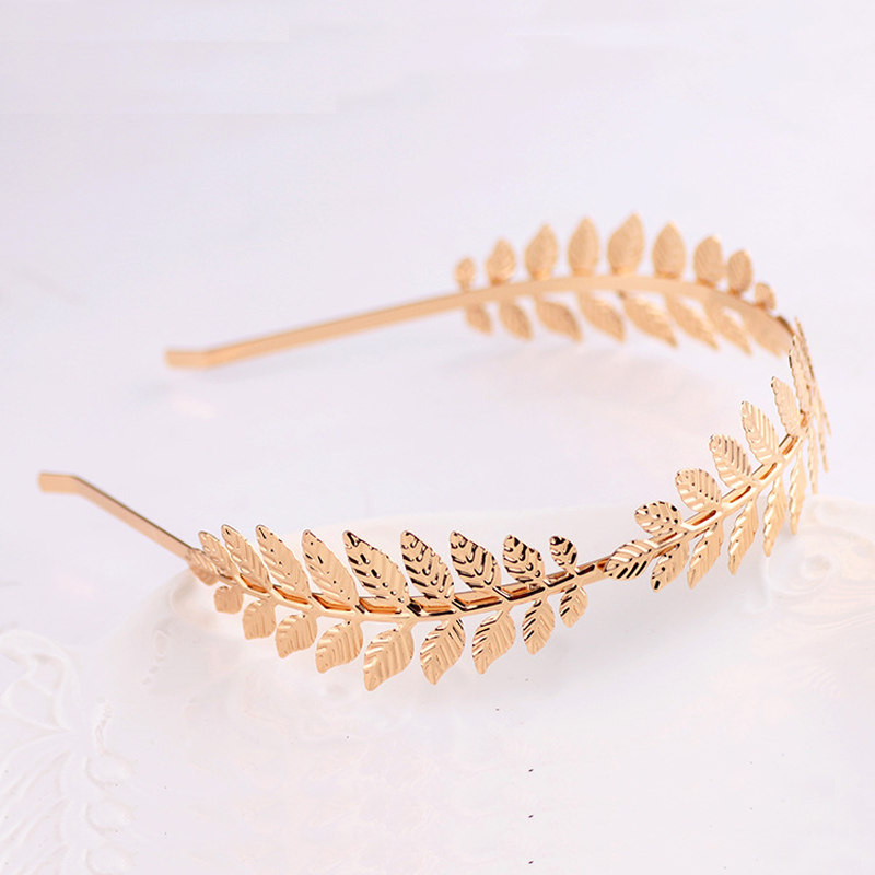 LNRRABC Fashion Women Elegant Baroque Style Metal Leaves Headband Bridal Charm Hair accessories Hairband 2