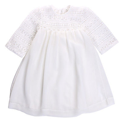 Baby Girls Kids White Princess Dresses Lace Floral Brief Formal Party Gown Dress Casual Clothes 2 3 4 5 6 7 8 9 Years