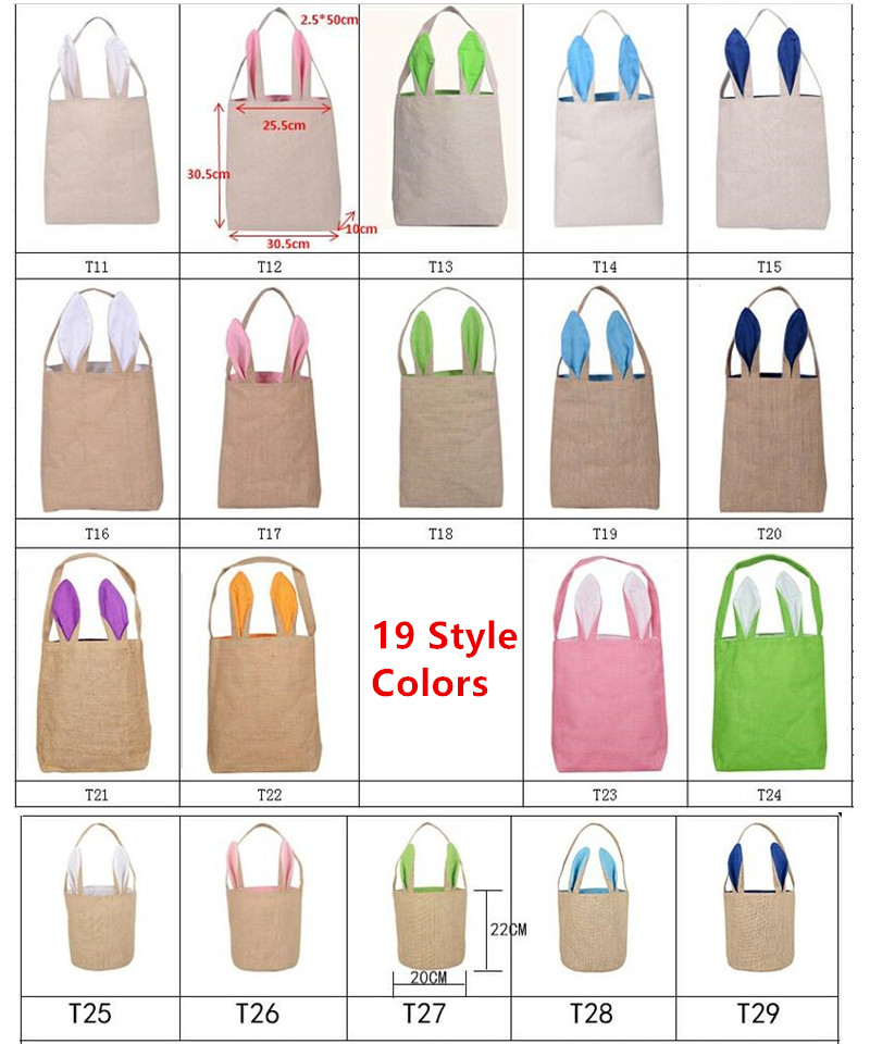 30pcs Easter Bunny Bag Ears Bags Cotton Easter Burlap Celebration Gifts Christmas Bag Cotton Linen Basket