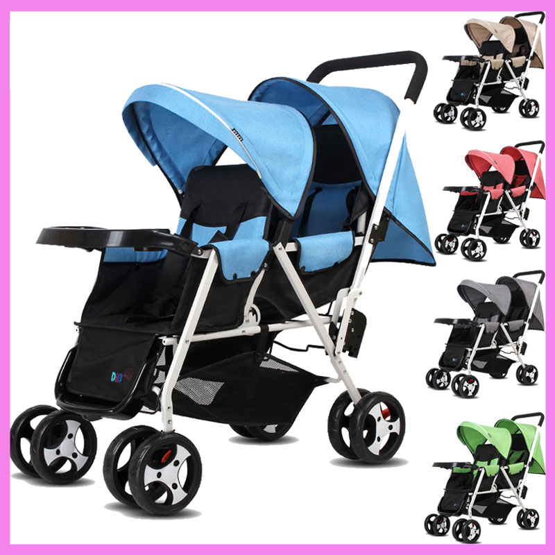 Portable Folding Twins Baby Stroller Lightweight Pram Two Babies Double Stroller Cart Buggy Pushchair 1 M~4 Y twins stroller double stroller super twins stroller carrier pram buggy leader handcart ems shipping