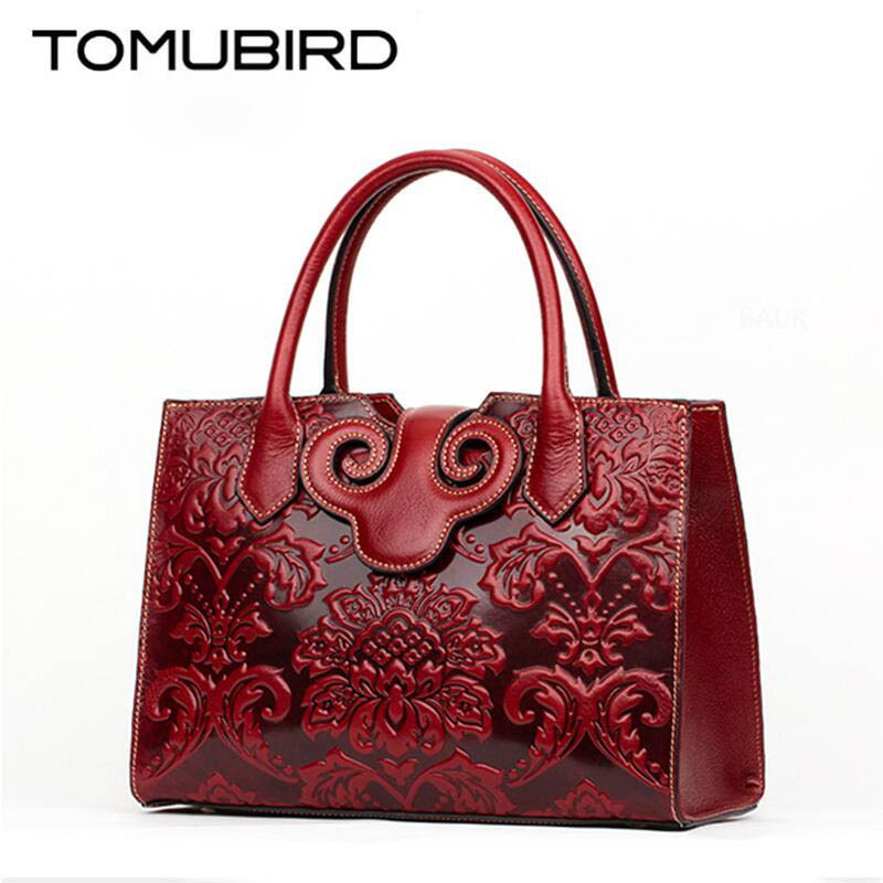 TOMUBIRD new Superior cowhide leather Classic Ladies Embossed Floral Leather Tote Handle Shoulder Handbags nasibao new embossed floral cowhide leather tote style ladies genuine leather bag convertible handle bag shoulder handbags