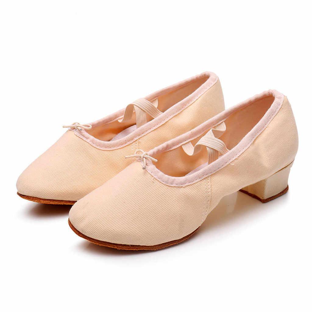 2019 frauen Damen Tanzen Rumba Walzer Prom Ballsaal Latin Ballett Dance Singles Schuhe zapatos de mujer tacon bajo # newg25