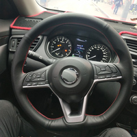 Cowhide Top Layer Leather handmade Sewing Steering wheel covers protect For Nissan Kicks X TRAIL March Rogue Qashqai Serena
