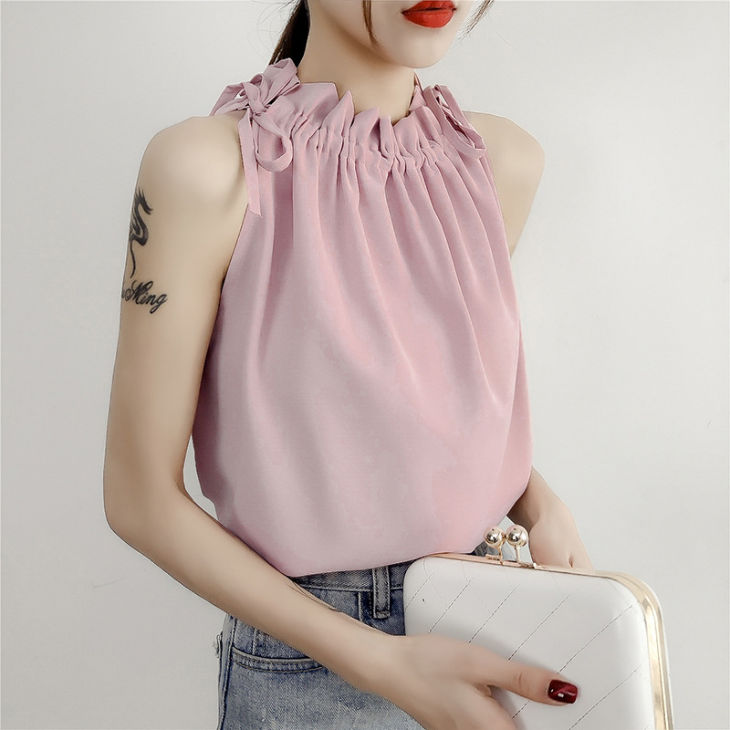 Sling Woman New Sleeveless Vest Female Summer Outer Hanging Neck Strapless Strap Sling Polyester Chiffon Casual