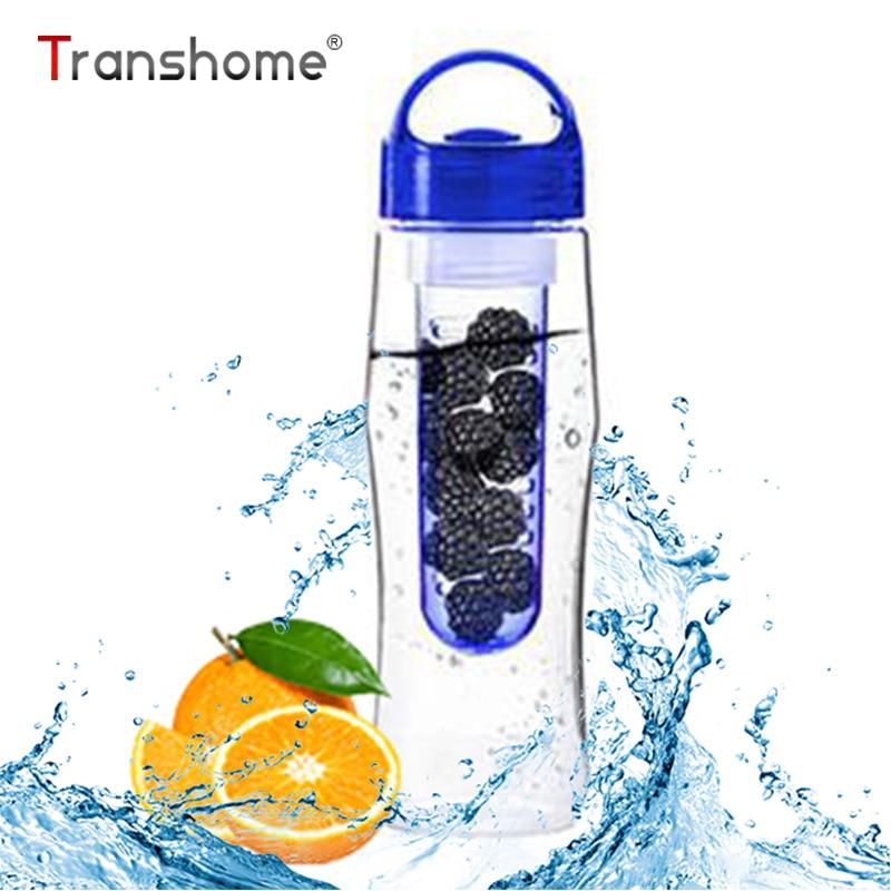 Transhome New Fruit Juice Infuser Water Bottle 700ml BPA Free Cycling Sports Fruit Infusing Infuser Water Lemon Bottles Flip Lid
