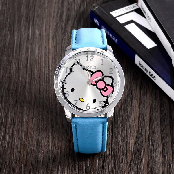Hot Sales Cute Hello Kitty Watches Children Girls Women Crystal Dress Quartz WristWatch Mix Color