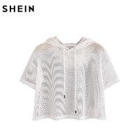SheIn Crop Tops Women 2017 T Shirt Women Drop Shoulder Crop Fishnet Hooded T Shirt White