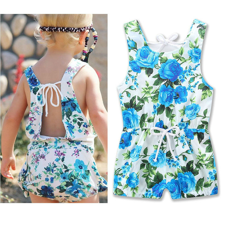 Ins Hot Cotton Floral Print Baby Girl Romper Set Summer Infant Kids Clothes Flower Baby Body Suit Toddler Jumpsuit One-Pieces childrendlor baby brocade floral print