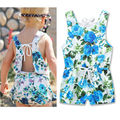 Ins Hot Cotton Floral Print Baby Girl Romper Set Summer Infant Kids Clothes Flower Baby Body Suit Toddler Jumpsuit One-Pieces