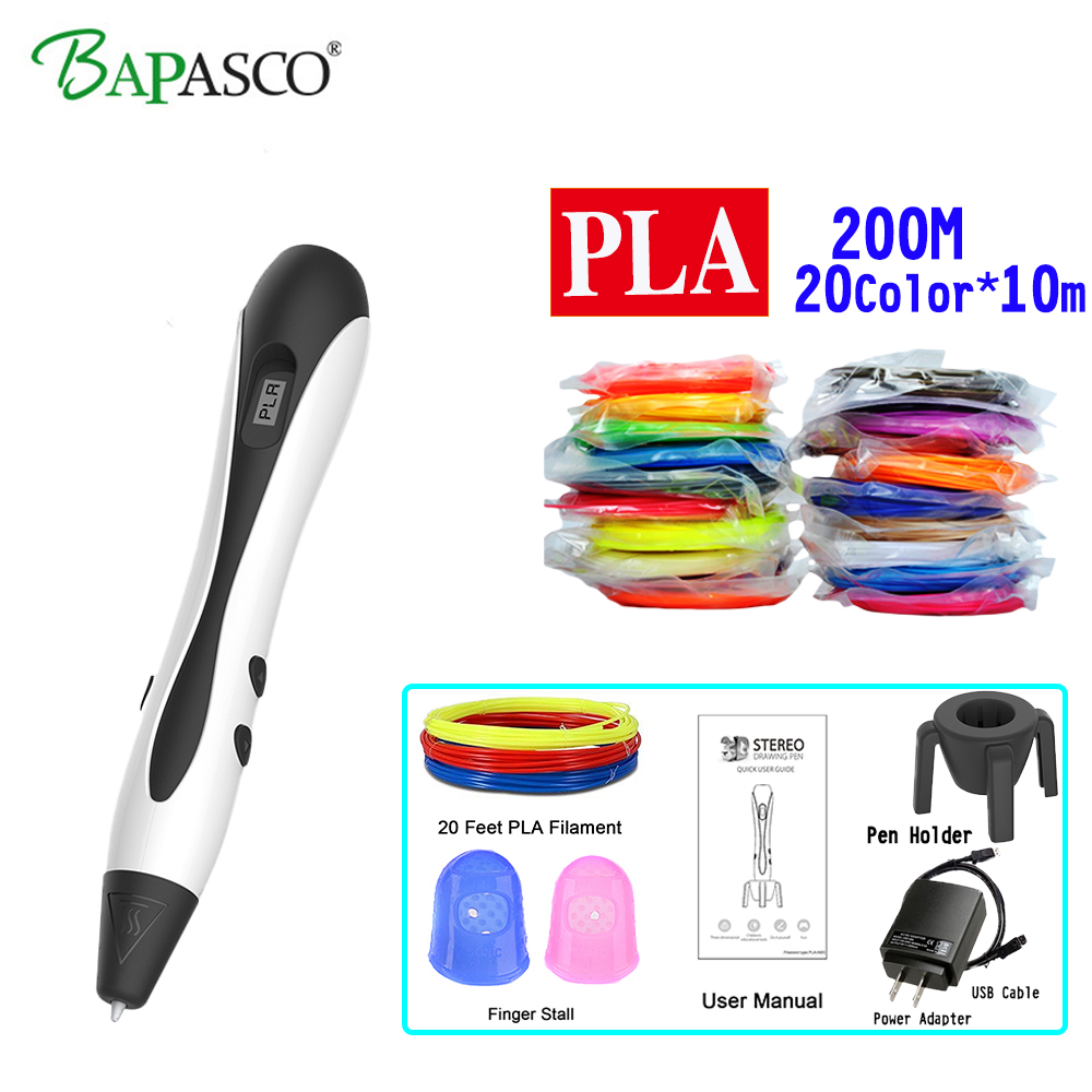 New BAPASCO 3D Printing Pen BP-07 Kids' Best Education Tools 3D Pen Add 200M(20Color) PLA Filament Drawing Pen 3D birthday Gifts