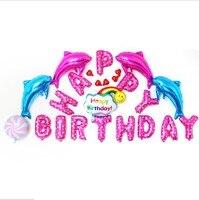 С Днем Рождения шар набор букв + Радуга + Дельфин Baby Shower Фольга шар набор Birthay партии фоне украшения выступает Kid игрушка