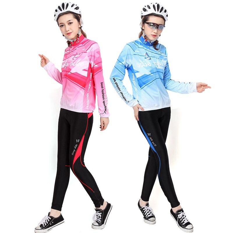 2017 пользовательские длинным рукавом Джерси и Велоспорт гель Pad брюки Спортивная женщины Велоспорт Джерси наборы