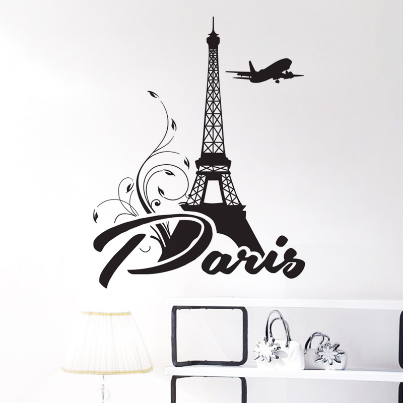 Eiffel Tower Wall Decal Vinyl Stickers Flowers Paris Wall Stickers French Home Decor Romantic Mural Wall