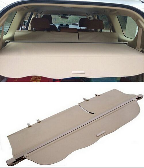 For toyota Land Cruiser Prado FJ150 2014 2015 Beige Rear Cargo Cover Trunk Shade Security Cover 1set car rear trunk security shield cargo cover for honda fit jazz 2014 2015 2016 2017 high qualit black beige auto accessories