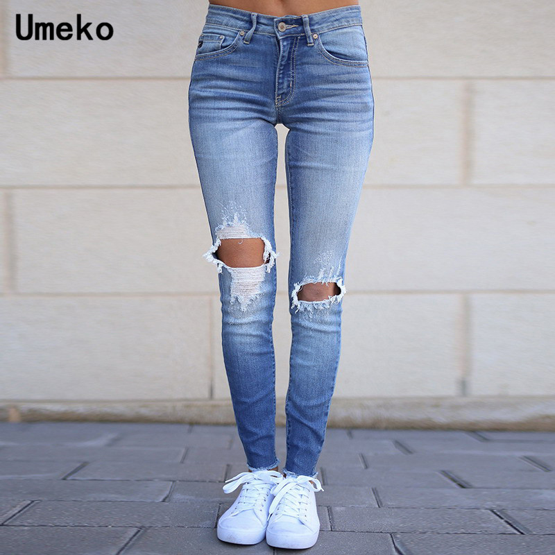 Umeko Autumn Fashion Blue Ripped   Jeans   for Women Denim High Waist Ladies   Jeans   Stretch Long Pants Ladies 2019 Womens Trousers