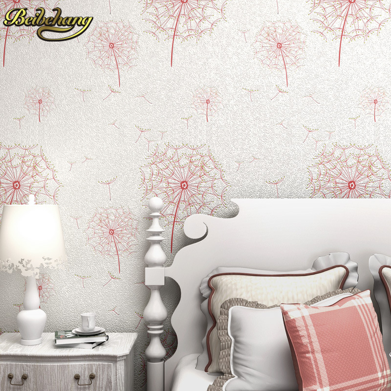 beibehang dandelion wallpaper roll child floral wallpaper for living room wedding room background wall paper papel de parede 3d beibehang decoration velvet floral wallpaper roll flocking flower wall paper mural wallpaper for living room papel de parede 3d