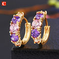 new listed products sell like hot cakes 18 k gold plated Austrian crystals zircon small ear clip earrings jewelry for women